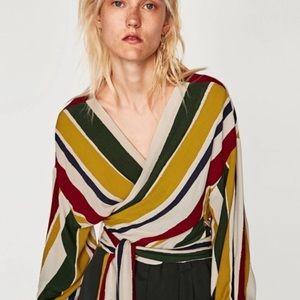 NWOT Zara striped wrap top -  XS